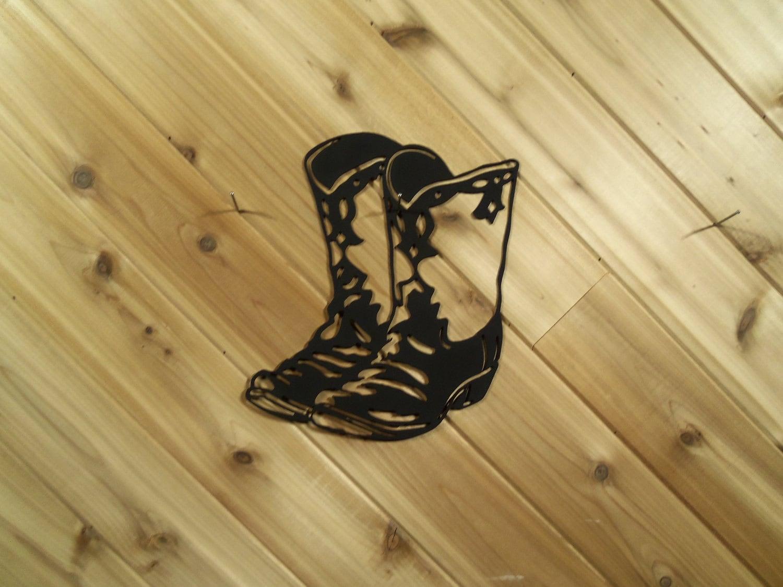 Cowboy Boots Black Metal Western Fancy Metal Wall Art