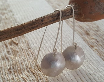 Silver brushed earrings - made of Sterling Silver 925