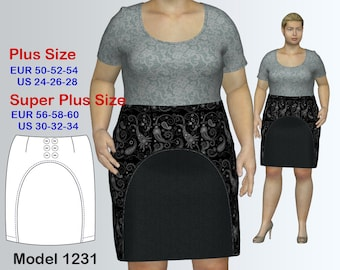 Plus size Knee-Length Skirt Sewing Pattern PDF, Women's sizes 24-34, Plus size Skirt PDF Instant Download Sewing Pattern