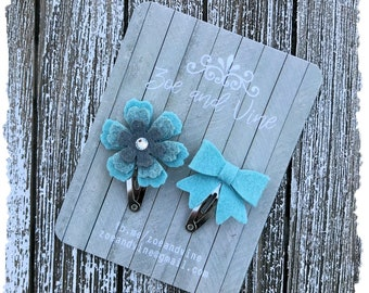 READY TO SHIP, Heathered Aqua Wool Felt Flower Mini Bow Clip Set, Baby Clips, Infant Girls Adult Mini Snap Clips