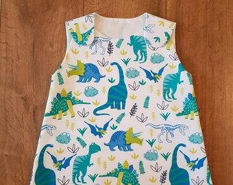 Girls Blue Dinosaur Pinafore Dress