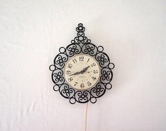 Black Vintage Plastic Curlicue Wall Clock 60s Mid Century Decor