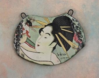 Handmade decal ceramic glazed pendant painterly art beads shard collage geisha