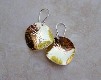 Gold Hammered Disc Earrings, 22K Gold-Bonded Argentium Earrings, Hand-forged Earrings, Sun Wheel Earrings