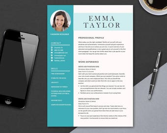 CV Template for Microsoft Word | Minimal Resume Template Design | Professional CV Design | Colour Modern CV | Instant Downloadable | A4 Emma