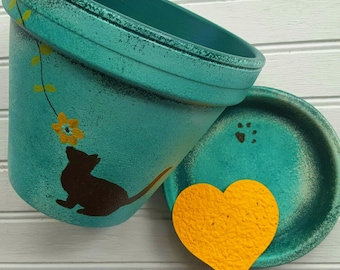 Large Planter - Pet Memorial Planter - Cat Lover Gifts - Large Flower Pot - Painted Flower Pot - Cat Memorial - Extra Large