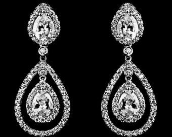 Bridal Earrings, Double Tear Drop Earrings, Earrings, Weddings