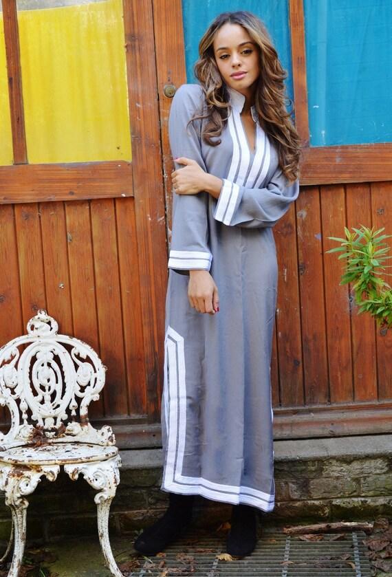 Summer Trendy Grey Mariam Caftan Kaftan Maxi Dress Clothing -Lella-loungewear, as resortwear,spa robe,Birthdays , Maternity Gif