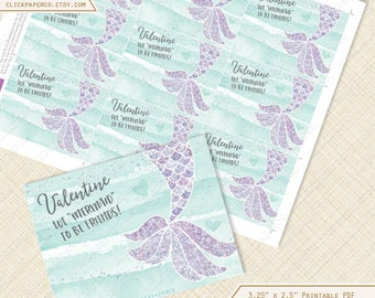 Purple Mermaid Valentine, Cards or Labels, valentines day card, printable, mint green, glitter, editable text, digital instant download diy