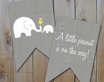Elephant Baby Shower Bunting Banner /Little Peanut Banner  / Instant Download / PRINTABLE /  10295