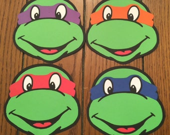 Teenage Mutant Ninja Turtle Faces, TMNT Diecut Cutouts - Set of 4