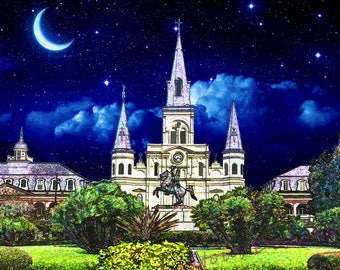 St. Louis Cathedral at Night, French Quarter New Orleans Photography, Travel Photo, Digital Art Photography, Jackson Square