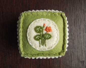 Nasturtium Embroidered Wool Felt Pincushion in Green and Orange
