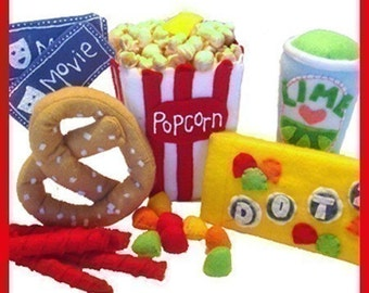 MOVIE TIME - PDF Felt Food Pattern (Popcorn, Candy, Pretzel, Licorice, Drink, Tickets)
