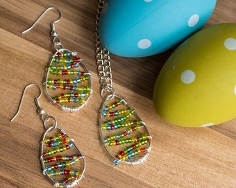 Easter egg jewelry set, Dangle earrings, pendant necklace, Egg hunt prize, African seed beads, Colourful spring accessories, Gift for friend