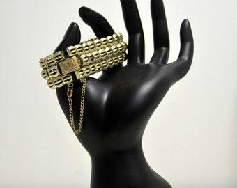 Vintage Coro Pegasus Signed  Brushed Gold Tone Triple Wide Linked Bracelet
