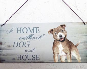 Staffordshire Bull Terrier Metal hanging sign