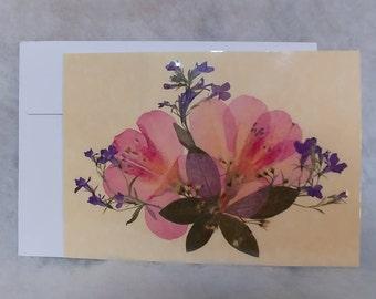 Pressed flower greeting card (blank) Azalea