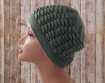 Sage Green Crochet Hat - Handmade Crochet Beanie - Green Beanie - Winter Hat - Textured Hat - READY TO SHIP