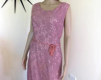 Vintage 60s dusky pink lacy dress - bought from Portobello Rd London - Mad Men wriggle beauty