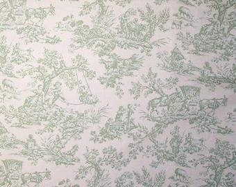 Nursery Children Pastimes color Green, Toile Printed Decorative Fabric