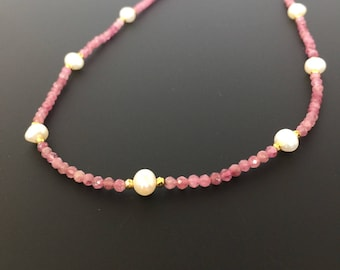 Birthday Day Gift For Her/Pink Tourmaline and Freshwater Pearl Necklace-Dainty and Elegant