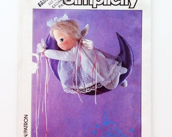 """Vintage 80's Simplicity Angel Moon Baby Pattern #6875 - Doll 15"""" High - UNCUT Factory Folded"""