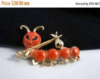ON SALE Vintage Caterpillar Brooch - Retro Collectible 1970's Figural Pin