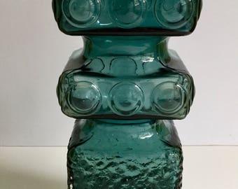 Vintage Finland Glass Vase Scandinavian Riihimaen Kehra Aladin for Riihimaen Lasi Oy MCM