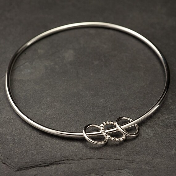 Sterling Silver Bangle- Silver Charm Bracelet- Charm Bangle- Silver Bracelet with circle charms- Modern Handmade Silver Jewelry