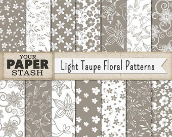 Floral Digital Paper, Taupe Scrapbook Paper, Flower Digital Paper, Floral Scrapbook Paper, Neutral Scrapbook Paper, Elegant Digital Paper