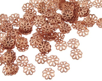 Copper Bead Cap 144 6mm Filigree Solid Copper Beadcaps - Raw Bright Copper Small Beadcaps - Copper Beads (FSC39)