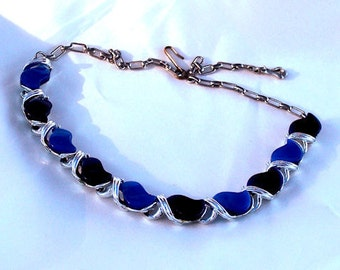 Vintage Blue Thermoset Necklace signed STAR