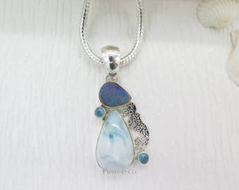 Titanium Drusy Larimar and Blue Topaz Sterling Silver Pendant and Chain