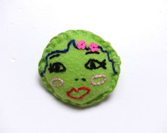 Embroidered felt brooch - Felt brooch - brooch