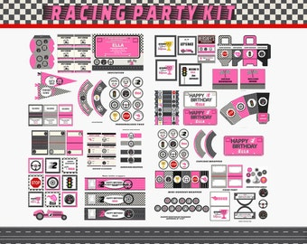 Race Car Party Pink ,Invitation, Race Car Birthday Cars party  Cars birthday  invitation personalized for you digital