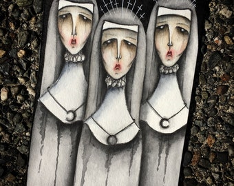 Sisters' Secret Print, watercolor, drawing, wall art, art, wall decor