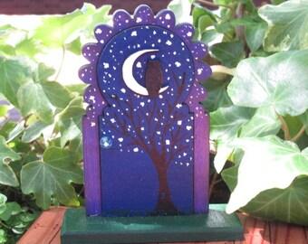 Fairy Garden Tiny Door Starlit Night with Owl and Moon miniature decor accessories