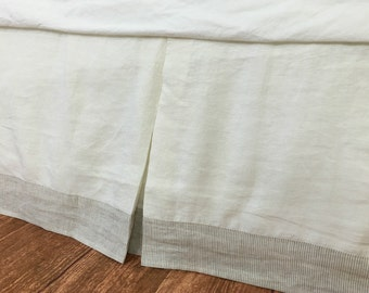 Tailored Bed Skirt in Soft White with Linen Ticking Striped Border, tailored linen bedskirt, handmade, made to order