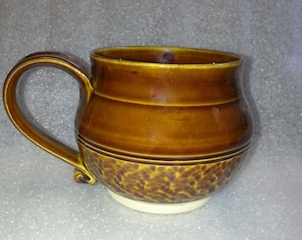 Amber Wheel Thrown Pottery Mug or Cup with Chattering for Texture