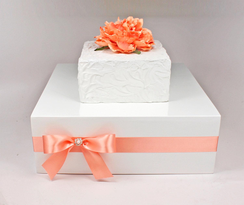 Coral & White Wooden Wedding Cake Stand Box with Rhinestone