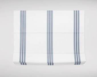 French Ticking Roman Shades Blue White Stripe French Country Cordless Child Safe Custom Widths Kitchen Bathroom Valance Blue Ticking Grey
