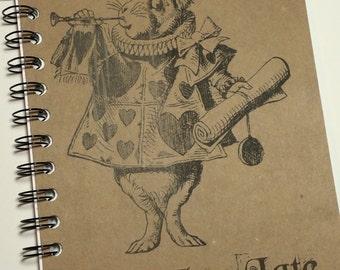 Writing Journal, spiral notebook, Alice in Wonderland, White Rabbit,  Notebook,  Journal, gift, Rabbit, Alice, Sketchbook, Personalized