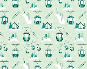 Fabric, RETRO, skiing, snow, mountain gondolas