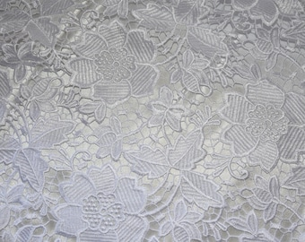 Venice Embroidered Lace Fabric French Guipure Lace fabric by the Yard (White)