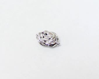 Sterling Silver Flower Shaped 925 Clasp, Pearl Clasp, Easy to use Push to Clasp, Necklace Clasp, Bracelet Clasp, Bead Clasp