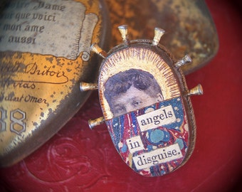 Angel eyes woman jewelry. Original Mixed Media. Handmade Brooch. Gold leaf. One of a Kind. ANGELS IN DISGUISE by Mikel Robinson