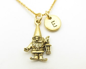 Gnome Necklace, Garden Gnome Charm Necklace, Personalized, Initial Necklace, Antique Gold Gnome, Monogram, Gold Stainless Steel Chain Z315