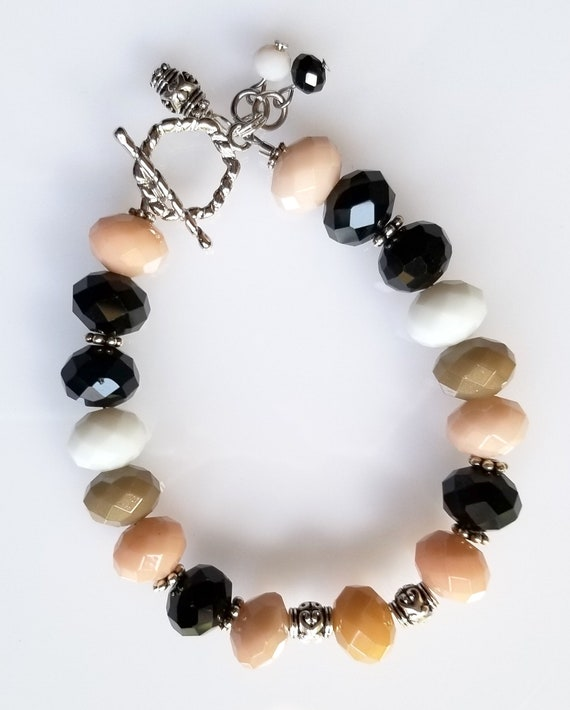 Glass Rondelle Bracelet, Glass Bracelet, Multi-Color Bracelet, Black Bracelet, White Bracelet, Coral Bracelet