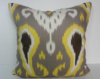 IKAT Batavia Decorative Pillow Cover, Robert Allen Citrine Yellow Pillow Cushion Cover, Dwell Studio, 20 x 20